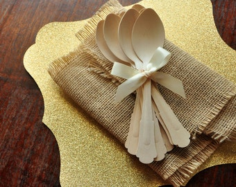 Disposable Wooden Spoons.  Handcrafted in 2-3 Business Days.  Barouque Style Wooden Cutlery.  Eco Friendly Party Utensils.