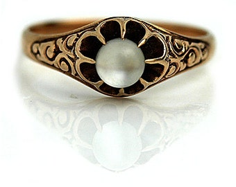 Antique Moonstone Ring 1900's .50 Carat Natural Moonstone 14Kt Rose Gold Birthstone Anniversary Ring