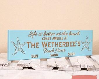 Beach House Sign-Beach Sign-Personalized-Beach Wall Hanging - Beach House Decor - Beach House Gift - Beach House Wall Art - Beach House Sign