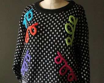 Vintage 80's Black, White, Neon Blue, Purple, Pink, Orange and Yellow Abstract Pullover Knit Sweater by Adrian Spencer, size S