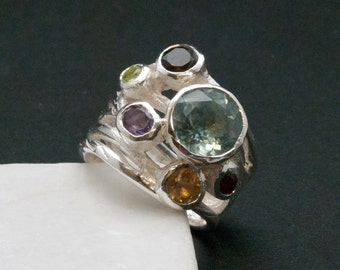 Big Multi Gemstone Statement Ring, Glamorous Wide Band 925 Silver Natural Gemstones, Blue Topaz High Fashion Ring, Fine Jewelry Gift for Her