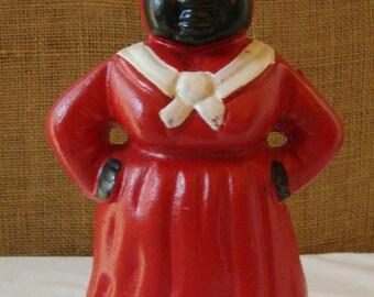 Vintage CAST IRON DOORSTOP Black Americana Figure Red Dress White Scarf Arms Akimbo Jemima
