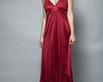 vintage burgundy red slip dress nightgown pleated hem 1970s S M (b20)