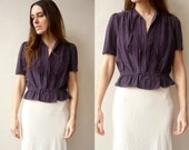 1950's Vintage Pretty Purple Silk Blouse Top Size Small  - As Seen
