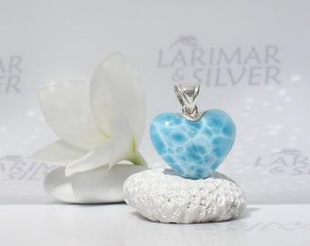 Larimarandsilver pendant, Mermaid Darling - water blue Larimar heart, aquamarine heart, turtleback, reversible handmade Larimar pendant