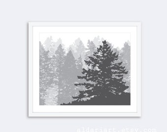 Pine Tree Print - Pine Tree Wall Art - Trees Art Print - Woodland Art Rustic Modern Decor - Custom Color - Charcoal Grey - Aldari Art