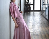 Lavender Pink Maxi Skirt - Satin formal skirt, PInk mauve skirt Shawl set, wedding, prom, bridesmaid