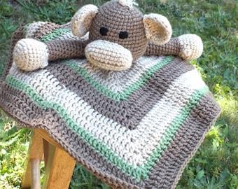 Baby boy monkey lovey blanket crochet lovey blanket monkey crochet lovey blanket zoo animal lovey blanket baby boy monkey