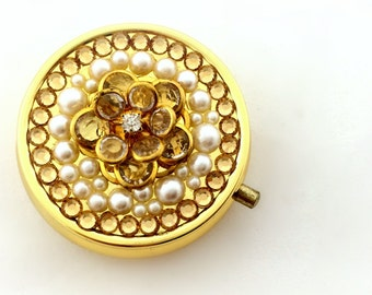 Golden camellia deco pill case, kawaii flower decoden case, gift for her