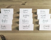 CALLIGRAPHY PLACE CARDS, custom styled calligraphy and print, style #9 - wedding, event, escort cards, place cards, name tent, dinner cards
