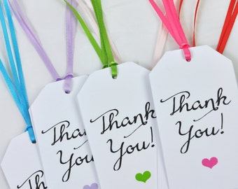 Thank You Gift Tags, Favor Tags, Rainbow Heart, Party Favor Tags, Colorful, Birthdays, Baby Showers, Gift Tags - Set of 12 - READY TO SHIP