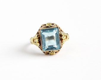 Sale - Vintage 10k Yellow & Rose Gold Simulated Aquamarine Filigree Ring - Antique Size 5 Art Deco 1930s OB Ostby Barton Blue Fine Jewelry