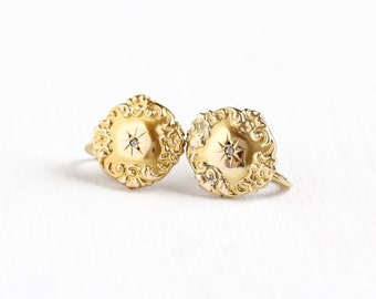 Antique Victorian 10k Yellow Gold Diamond Earrings - Vintage 1800s Edwardian Screw Back Flower Repousse Cufflink Conversion Fine Jewelry