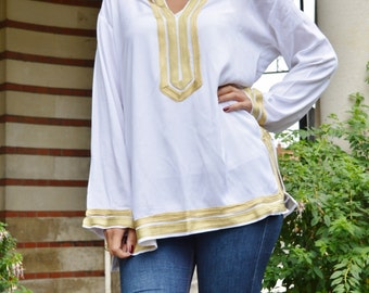 Mariam Style White Tunic with Golden Embroidery-for Eid, birthday gifts, resort shirt, beach cover ups, resortwear, beach shirt