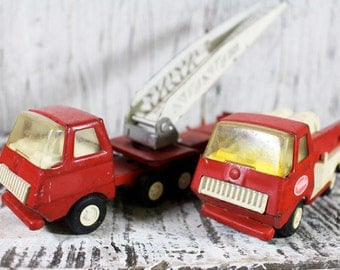 Fire Truck and Hook and Ladder Truck (2 trucks), Tonka Trucks, Vintage Red Metal Toy Truck, 1980's