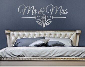 Mr and Mrs Wall Decor, Mr and Mrs Bedroom Wall Decal, Romantic Bedroom Mr and Mrs Wedding Gift for Couple, Art Deco (0179c18v)