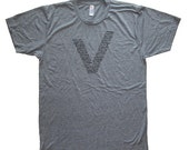 Mens Vegetarian Shirt / Vegan Shirt V - Foodie Vegetables Kale T Shirt - Mens / Unisex Tri Blend Heather Gray - Hand Printed Size S M L XL