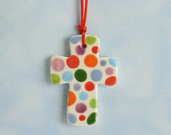 Small Cross Ornament Hand Painted Spring Colors
