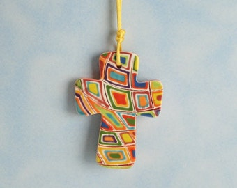 Mod Blocks Textured Cross Ornament Hand Made and Painted