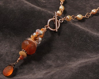 Mango Tango: mixed media carnelian, red agate, sari silk ribbon, pearls, wire wrapped copper