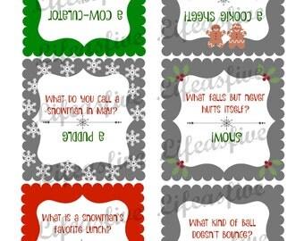Six Holiday Lunchbox Jokes plus BONUS sheet // Instant Digital Download