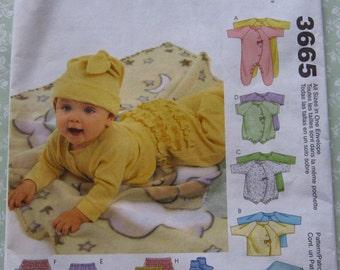 Infants Coveralls, Top, Bodysuit, Pants, Diaper Cover, Blanket, Booties, Bib and Hat Sizes NB S M L UNCUT McCalls Pattern 3665