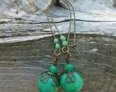 Handmade Earrings, Antique Jade Green Glass Beads, Large Antique Brass Earring Wires, Dangling