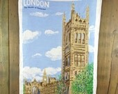 Vintage Linen Dish Towel, London The Houses of Parliament, England, Made in Ireland, Lamont, Pub Kitchen Tea Towel