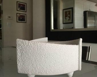 Modernist White Planter/ Asymmetrical Contemporary Planter/ Mid Century Modern/Ikebana/ By Gatormom13