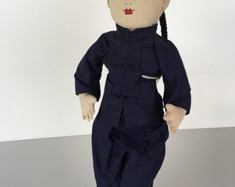 Ada Lum Doll/ Cloth Asian Doll/ Chinese Doll/Cloth Doll/ Mid Century Doll/ Asian Doll/ c.1950s By Gatormom13 JUST REDUCED