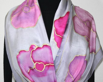 Silk Scarf Hand Painted Silk Shawl Lavender Violet Pink Hand Dyed Silk Scarf LAVENDER MORNING Size 11x60 Birthday Gift Scarf Gift-Wrapped