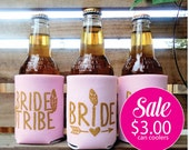 Bride Tribe Can Coolers, Metallic Gold Screen Print, Bachelorette Party,Favors, Blush Pink with Gold, SALE
