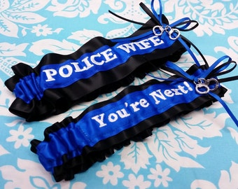 Royal blue and white Police Wife garter set, You're next garter set, fine line garter set, handcuffs garter set, Police garter set