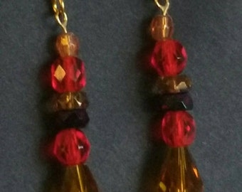 Earrings -Czech Glass Amber Colored