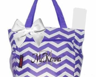 Personalized Lavender & White Chevron Pattern Diaper Bag