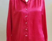 """Vintage Laura Scott Long Sleeved Iridescent Red Blouse Clear Buttons with Rhinestone Centers Bust 41"""" Waist 37"""""""