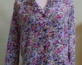 """Vintage Notations Long Sleeved Abstract Print Blouse Bust 45""""  Waist 42"""""""