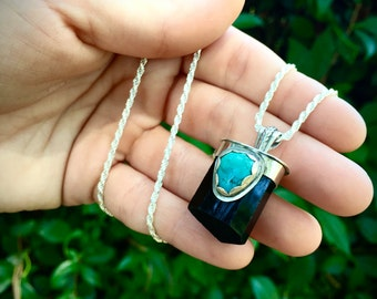 Protection Amulet- Black Tourmaline and Turquoise Necklace