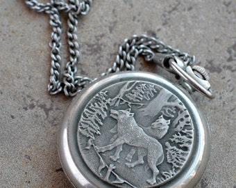 Vintage Soviet Pocket Watch Molnija -- wolf