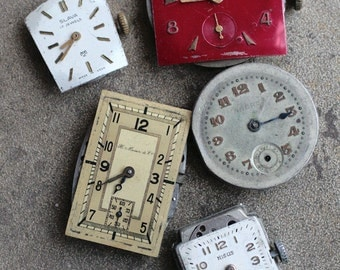 Vintage watch movements with dials -- set of 5 -- D7