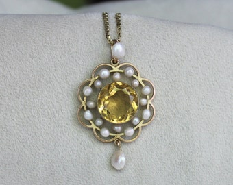 Citrine & Seed Pearl Pendant in 9k Yellow Gold
