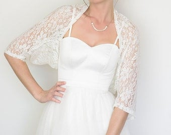 Bridal cover up, white lace cover up, bridal shawl, wedding shawl