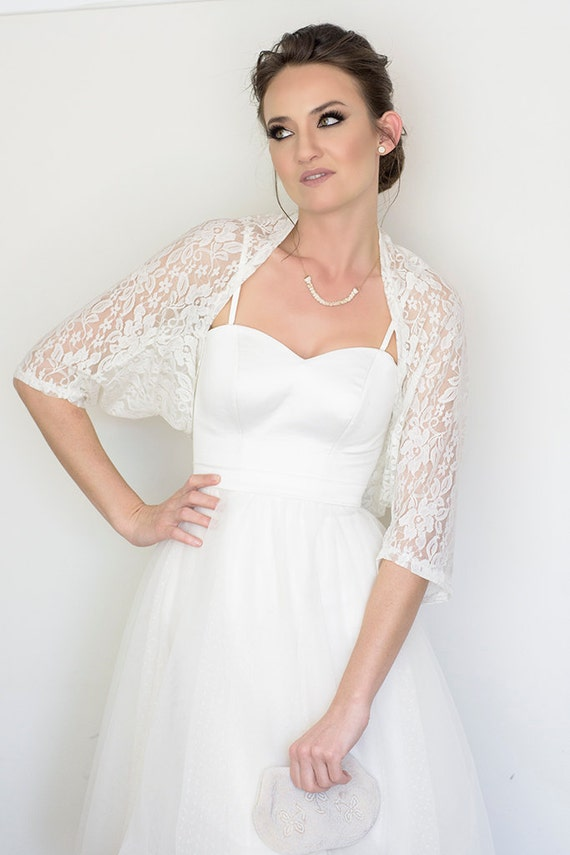 Wedding dresses with cover ups : Bridal cover up white lace shawl wedding