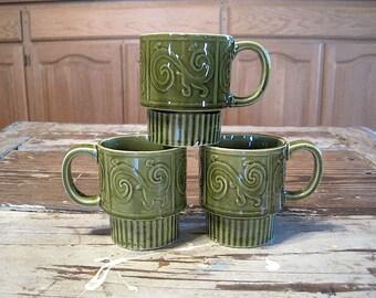 Three Vintage Green Japan Stacking Mugs