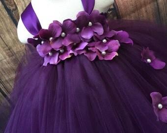 Plum tulle flower girl dress, girls eggplant dress, eggplant flower girl dress, girls plum wedding dress, plum wedding