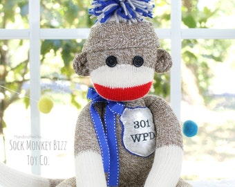 Police Sock Monkey Doll, Handmade Child's Toy, Personalized Gifts for Police, Blue Lives Matter