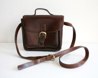 SALE Brown Leather Satchel