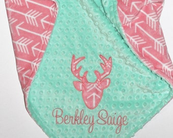 Personalized Baby Girl Blanket, Deer Head Blanket, Arrows Blanket, Coral and Mint Blanket, Buck Head Blanket, Double Minky Blanket