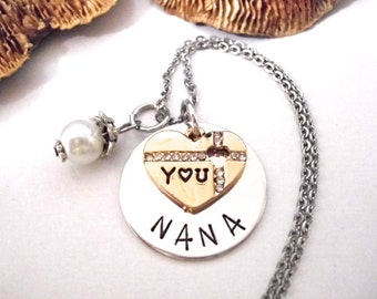 Nana Jewelry, Nana Necklace, Gift for Nana, Nana Jewelry, Hand Stamped Jewelry, Love You Nana, Two-toned Jewelry