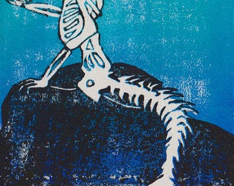 Mermaid Print, Mermaid Skeleton, Mermaid Art, Skeleton Mermaid, Reduction Print, Skeleton Print, Skeleton Art, Skeleton, Mermaid, Reduction